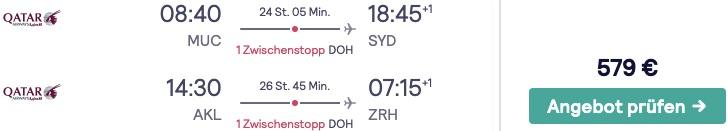 Flüge nach Australien und Neuseeland
